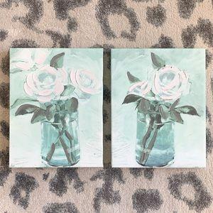 Canvas Wall Art Vase Flower Set